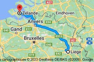 Carte depuis Liège pour Zélande, Pays-Bas